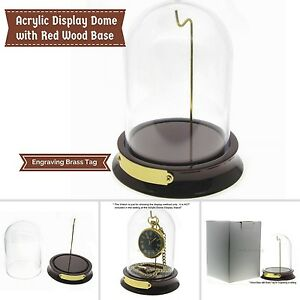 Pocket Watch Display Case Watch Display Stand Red Wood Base Acrylic Dome WD01