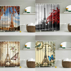 Paris Eiffel Tower Bathroom Shower Curtain Butterfly Flower Waterproof Fabric