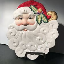 "Fritz and Floyd Essentials Noel Classique Christmas Santa Canape Plate 9 1/2"" H"