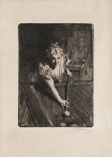 Billiards :  Anders Zorn  :  circa 1898  Fine Art Print - Archival Quality