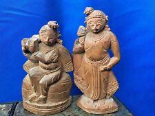 Antique HAND CARVED Buddha Teak Wood Bamboo 3&2.5 UNIQUE Figurine Estate ❤️j8