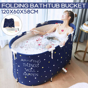 Portable Folding Large Adult PVC Bathtub Water Tub Spa Bath Bucket Indoor Home