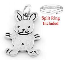 SILVER FLAT EASTER BUNNY/RABBIT CHARM W/SPLIT RING