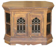 JALI MINI CORNER TV UNIT STAND/ REAL SOLID SHEESHAM ROSEWOOD NO MDF OR PLY