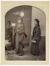 photo aquarellée 1880 Geisha voilée à la pleine Lune montage Kimbei Japan Japon