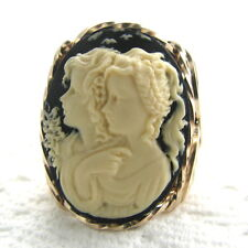 Sister Friends Cameo Ring 14K Rolled Gold Jewelry Black Resin Size Selectable