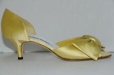 Nuevo Manolo Blahnik Clausado Amarillo Limón Lazo Zapatos Satén 39.5 Boda