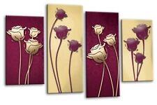 "FLORAL ABSTRACT ART PICTURE PURPLE CREAM CIRCLES CANVAS  SPLIT PANELS 40"""