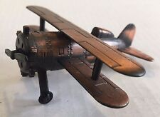 BI-PLANE Biplane die cast coppertone metal pencil sharpener propeller rotates