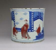 RARE CHINESE OLD BLUE AND WHITE PORCELAIN BRUSH POT WITH MARKED (E176)