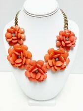 Large Coral  Flower Statement Necklace With Rhinestones