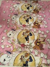 VTG New BEAUTY & THE BEAST Full FLAT Bed Sheet PINK Fabric MATERIAL Disney
