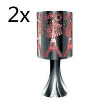 2x Bedside Desk Cafe Metal Etching Touch Lamp Paris Fireworks 30cmH