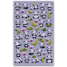 CUTE PANDA FELT STICKERS Bear Fuzzy Raised Animal Kid Craft Scrapbook Sticker