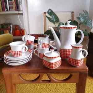 Vintage/Mid Century TK Thun Red & White Coffee Set - Czeckoslavakia
