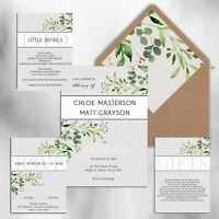 WEDDING INVITATIONS Personalised Rustic Grey & Green floral packs of 10