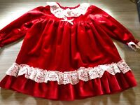 Vintage Allison Ann Christmas Holiday Dress Red Velvet with White Lace Accents