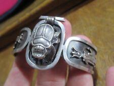 Vintage Estilo Art Deco Plata Pulsera escarabajo egipcio Revival Brazalete