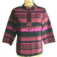 Talbots Silk Tunic Top Blouse 8 P Med Black Burgundy Pink Stripe Mandarin 3/4 Sl