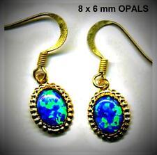 solid breight blue Gilson fire GEM  OPAL cabochon EARRINGS   discount Opal SALE