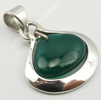 "925 Solid Silver Green Onyx Pendant 1.1"" 3.9 Grams New Wholesale Jewelry"