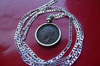 "pre 1936 English Britannia Farthing Pendant on a 30"" 925 Sterling Silver Chain"