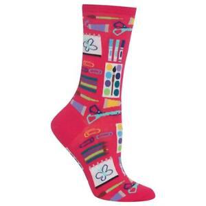 Art Supplies Hot Sox Women's Crew Socks Hot Pink New Novelty Crafty Fashion*