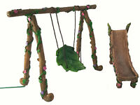 Fairy Garden Miniature Figurine Swing and Slide Set for Fairies