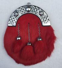 Men's Full Dress Sporran Red Rabbit Fur Celtic Candle /Scottish Kilt Sporrans