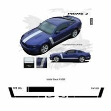 Ford Mustang 2013+ GT Style Hood and Side Stripes Graphic Kit - Matte Black