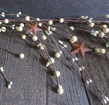 5 Feet Cream Primtive Ivory Wispy Mixed Pip Berry Garland Rusty Stars Berries