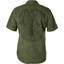 Affliction Mens S/S Button Down Shirt THRUTCH American Customs GRN Bke S-3XL $68