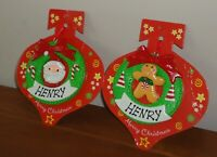 """Pre-Personalised Name """"HENRY"""" Christmas Wreath Tree Hanging Decoration Gift"""
