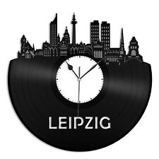 Leipzig Vinyl Wall Clock City Skyline Unique Gift Home Room Office Decor