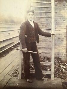 CC  GNR Railway WORKER Signalman w/ large tool 1890s Cabinet PHOTO 28/9