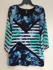 NEW Style & co Petite Chiffon Sleeves Printed Embellished Tunic Top 18511 PM