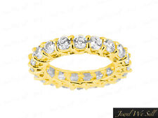 Eternity Band Ring 14k Gold Gh I1 6.0Ct Round Diamond Trellis Woven Shared Prong