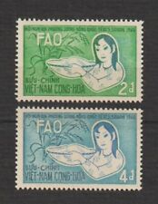 1960 South Vietnam Stamp Girl With Basket of Rice & Rice Plant Sc # 144- 145 MNH