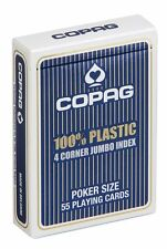 Cartes POKER COPAG 100% Plastique JUMBO Index - 4 Corners  Dos BLEU