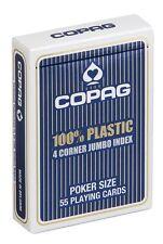 Cartes POKER COPAG 100% Plastique JUMBO Index - 4 Corners  Dos BLEU