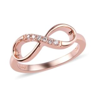 Natural Pink Diamond Infinity Ring in RG Over Sterling Silver (Size 8) 0.06 ctw