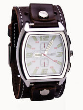 MAGNA;HEAVY LEATHER BIKER  HOLE STYLE BAND LARGE RECTANGULER CASE ANALOG WATCH