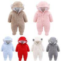 Newborn Baby Girl Boy Winter Cartoon Ear Velvet Hooded Jumpsuit Romper Clothes T