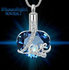 New Love Heart Crystal Cremation Urn Keepsake Ash Silver Memorial Necklace