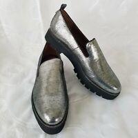Franco Sarto Women's NIB Sz 9M Brice Platform Loafers Slip On Gunmetal Silver