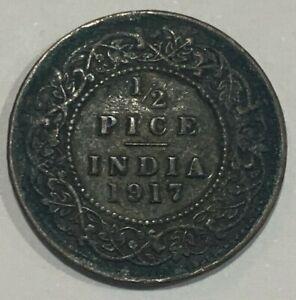 1917 British India KGV Half 1/2 Pice Coin