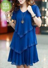 Women's V Neck Short Sleeve Tiered Dress US Size-XL(160823404)