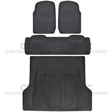 Black Rubber Floor Mats for Car SUV w/ Cargo Mat 5 Piece Full Set Max Duty