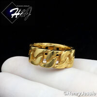 MEN Stainless Steel 10mm Gold Cuban Curb Link Ring Size 8-13*GR123
