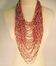 "45"" VERY LONG Multi Strand Handmade Orange Multi Bohemian Seed Bead Necklace"